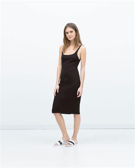 H M Basic Black Dress T3010 1 zara basic sleeveless dress in black lyst