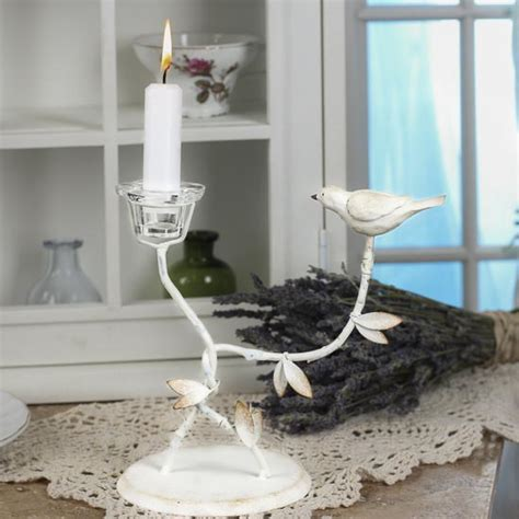 shabby chic bird and vine taper candle holder candles