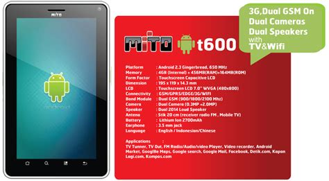 Touchscreen Mito A82 mito t600 tablet android terbaru murah