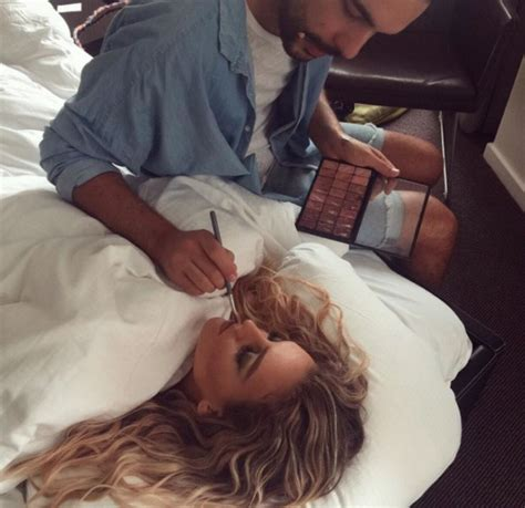 how to get her in bed this picture of little mix s perrie edwards getting her make up done in bed is
