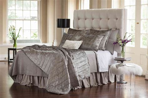 silver coverlet lili alessandra moderne silver velvet silver print quilted