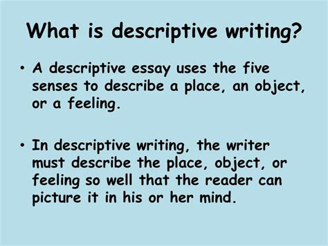 What Is An Descriptive Essay by Descriptive Writing Ppt
