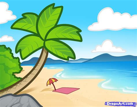 draw  beach  kids step  step landscapes