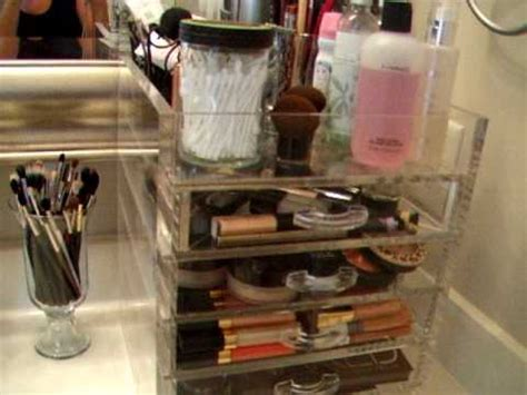 kim kardashian makeup organizer in her bathroom makeup collection storage the clear cube youtube