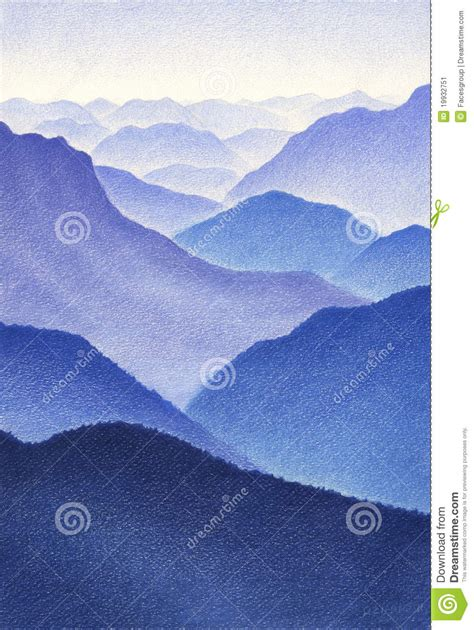color drawing  blue mountains stock image image