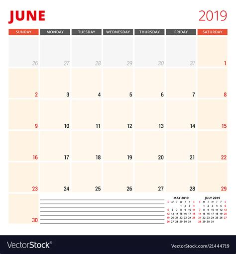 calendar planner template  june  week vector image