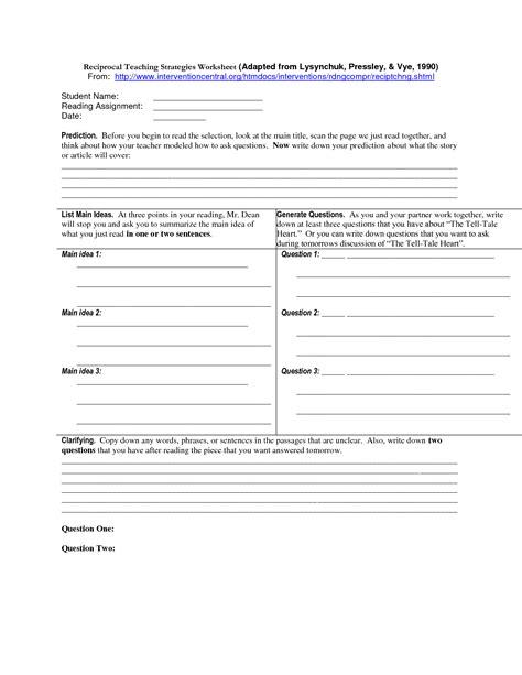 Reciprocal Teaching Worksheet by Uncategorized Reciprocal Teaching Worksheet