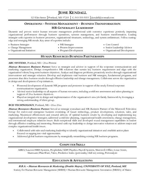Sle Resume Hr Business Partner Exle Human Resources Business Partner Resume Free Sle