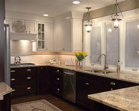 two tone cherry kitchen cabinets white painted wall cabinets and cherry stained base cabinets combined with a granite