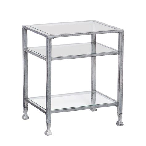 black glass top end tables southern enterprises silver and black glass top end table