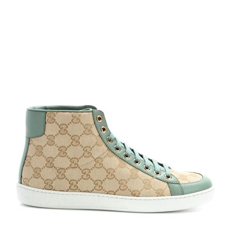 green gucci sneakers gucci hightop sneakers in green new sand p lyst