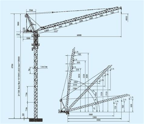 tower crane sections safe building luffing tower crane jib length 40m and max