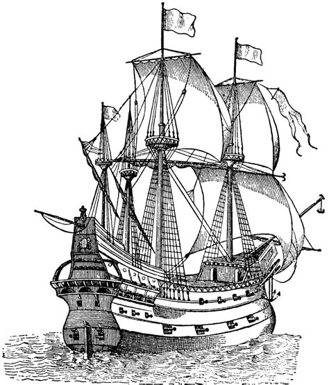 coloring page spanish galleon galleon ship galleon downloads and sketches