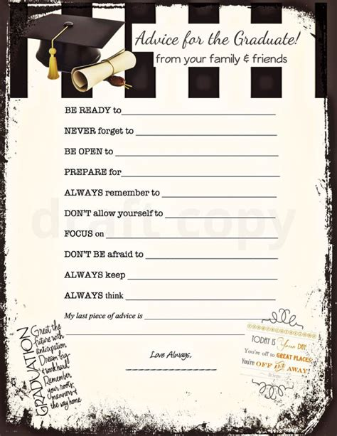 printable games for high school graduation advice cards instant download by 31flavorsofdesign