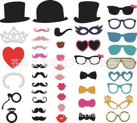 Branded 2391 Superman cheap set of 44 photo booth prop mustache eye glasses on a stick mask wedding