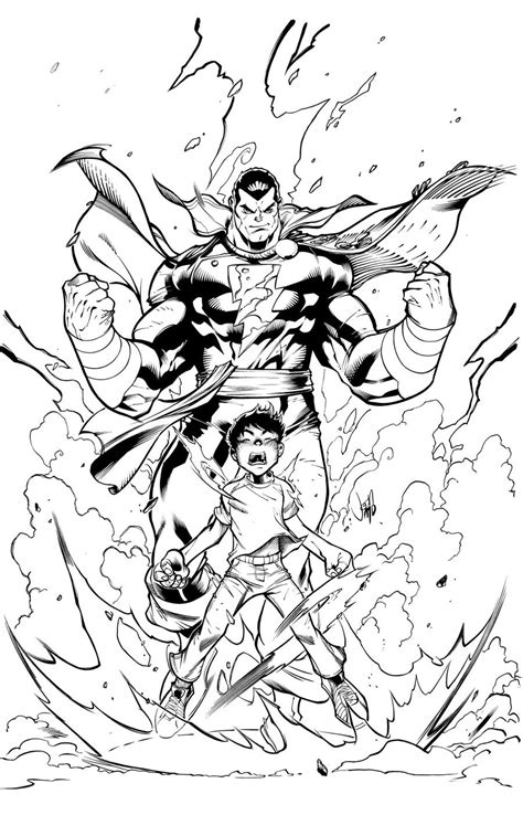 shazam free colouring pages