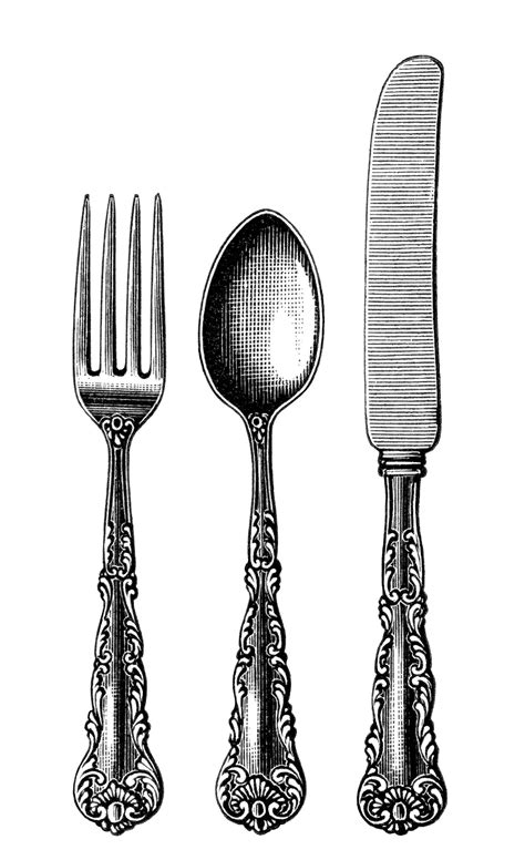 Drawing Utensils by Vintage Cutlery Clipart Black And White Clip