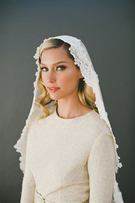 Wedding Hair Fingertip Veil by Timeless Corded Lace Wedding Veil Fingertip Length Veil