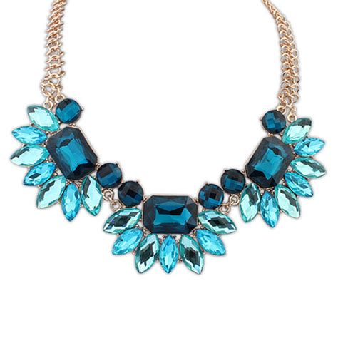 Blue Neckles blue jewelled statement necklace by junk jewels