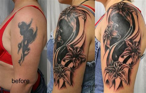 tattoo cover up app tribal cover up tat flowers before and after tattoomagz