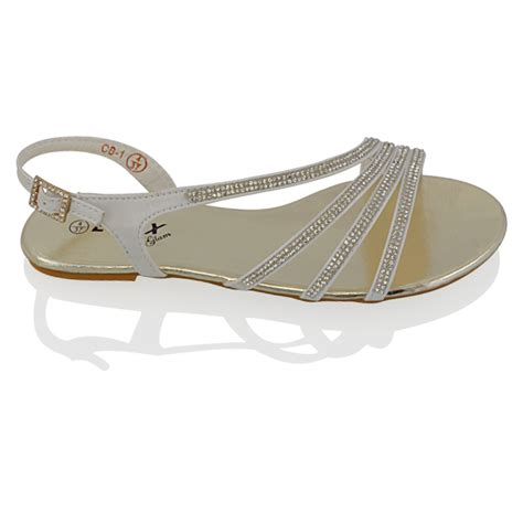 sparkly flat shoes for wedding womens flat diamante strappy sandals sparkly bridal