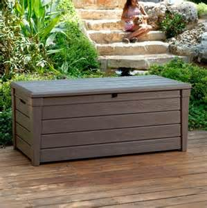 keter brightwood plastic garden storage box with seat