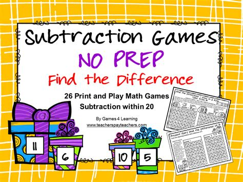 printable maths board games year 1 subtraction games no prep find the difference