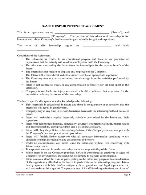 Letter Of Agreement Internship Internship Contract Template 2 Free Templates In Pdf
