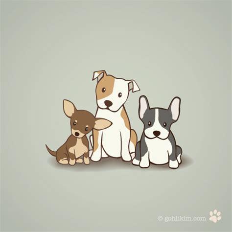 puppy illustration chihuahua staffie and bulldog goh li