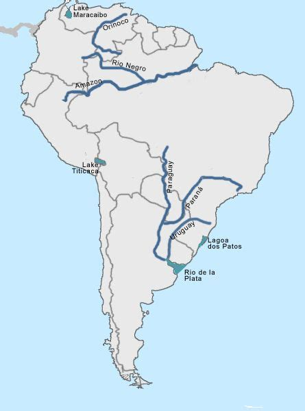 world map rivers labeled labeled map of rivers in samerica learn something new