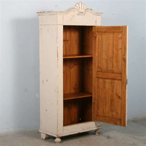 Narrow Armoire by Antique Swedish Narrow 1 Door White Cabinet Armoire Circa