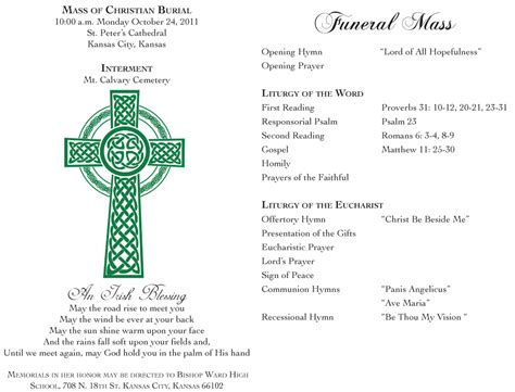 catholic funeral mass template free funeral program templates