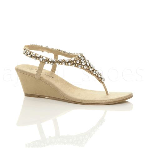 Beaded Wedge Shoes womens mid wedge heel slingback beaded diamante toe