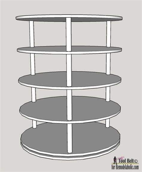 lazy susan shoe storage plans diy rotating shoe rack plans on remodelaholic home