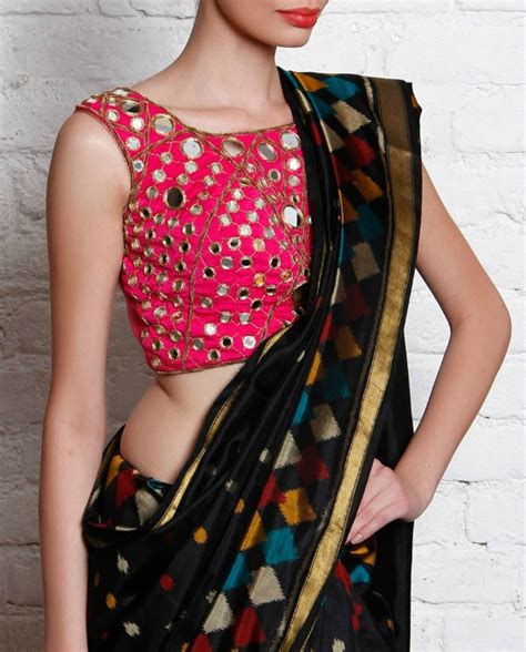 Black Sleeveless Blouse With Saree by 24 Pics Of Simple Mirror Work Blouse Saree Designs
