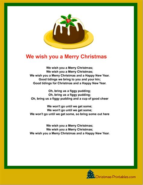 printable christmas carols  songs lyrics