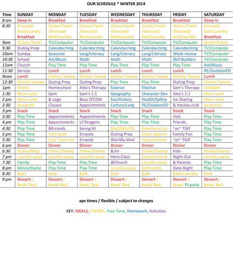 homeschool schedule template family weekly schedule template calendar template 2016