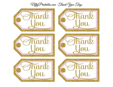 Homewarming Gift by Pink Gold Thank You Tags Rect Nifty Printables