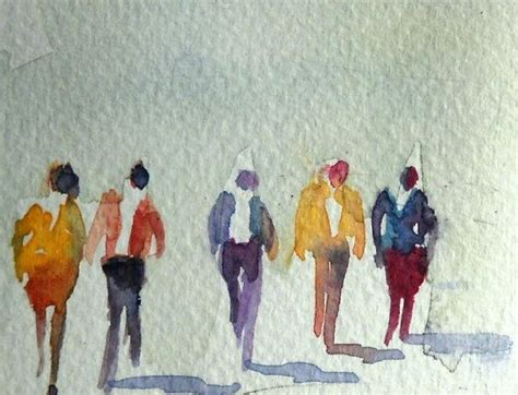 people painting watercolor painting aceo original walking figures people
