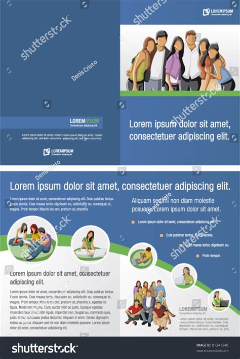 Blue Green Template Advertising Brochure Students Stock Vector 81341248 Shutterstock Free Brochure Templates For Students