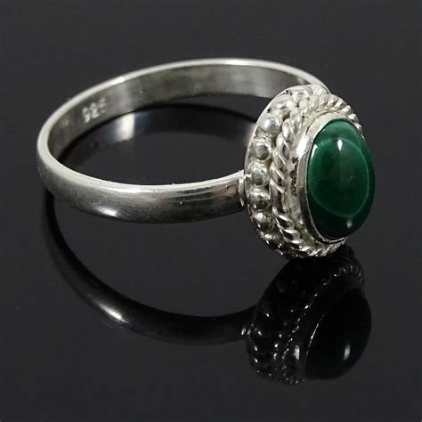 malachite 925 sterling silver ring band us size 7