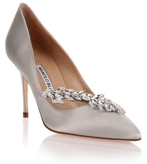 Manolo Blahnik Poppy Heels by Lyst Manolo Blahnik Nadira Light Grey Satin Us In Gray