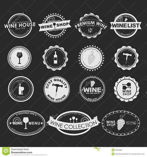 set of vintage wine logo stock vector image 53043867