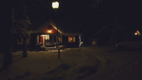 pov house pov cozy wooden house in winter forest finland stock footage video 8490397