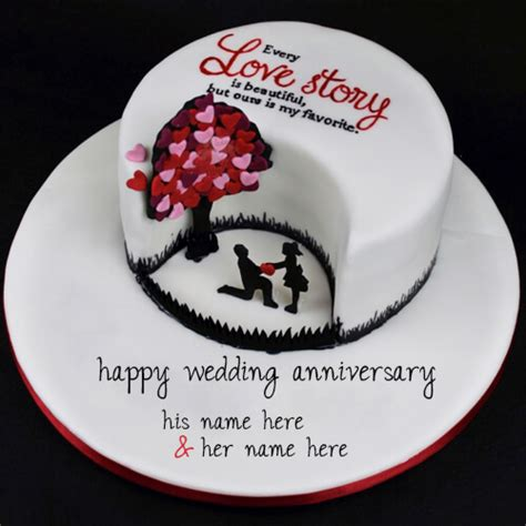 Wedding Anniversary Cake With Name by Write Your Name On Happy Wedding Beautiful