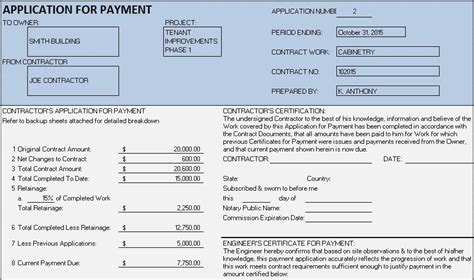 application for payment template contractor progress payment schedule template templates