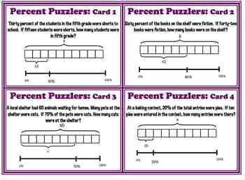 diagram using percent finding percent diagram bar model common 6 rp 3 task cards plus