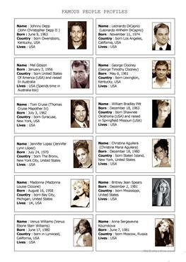 list of questions for celebrities 77 free esl famous people worksheets