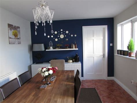 wall for dining room contemporary dining room with navy blue feature wall by alenacdesign