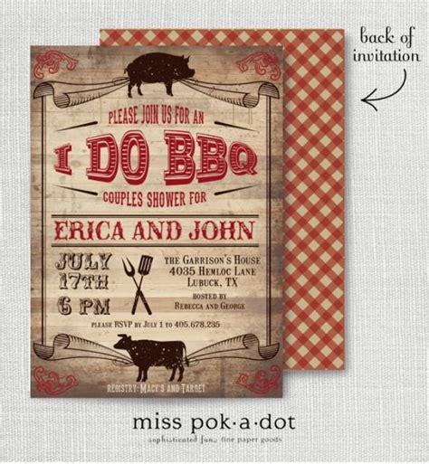 bridal shower barbeque invitations rustic i do bbq barbecue couples wedding shower invitation
